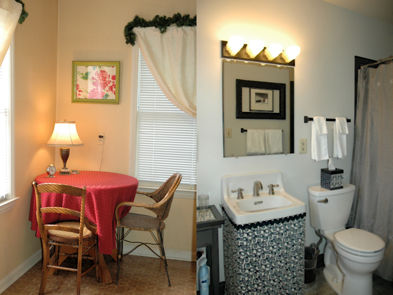 Split Screen: Alta's sunny sitting area, and black and white bathroom with shower.