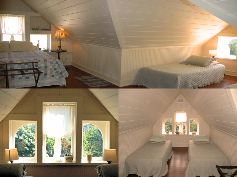 Split Screen: Third floor bedroom with gabeled ceilings, one with a queen bed, one with two twin beds and decorative windows