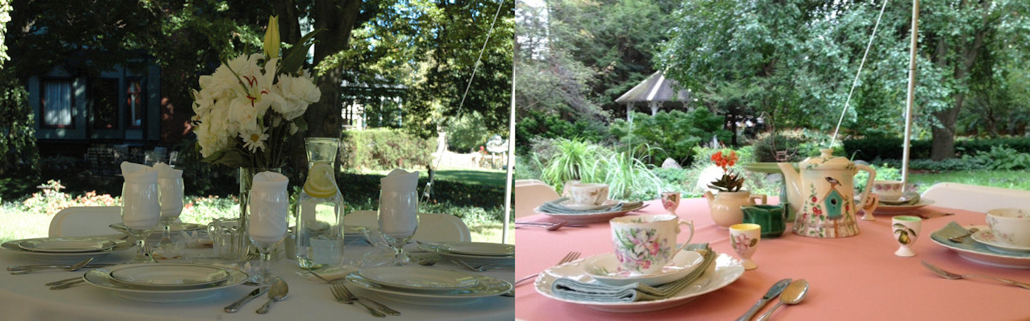 Split screen: Outdoor table set with white linen, fine china, with water glasses and bouquet of fresh white flowers, next to image of tables draped in peach linen with flowered bone china tea sets overlooking a lush garden.