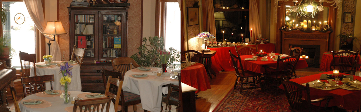Split screen: Sunlight drenched Victorian parlor, white linen draped tables, fresh flowers next to Victorian parlor with red linen draped tables with holiday greenery and awash in candlelight.