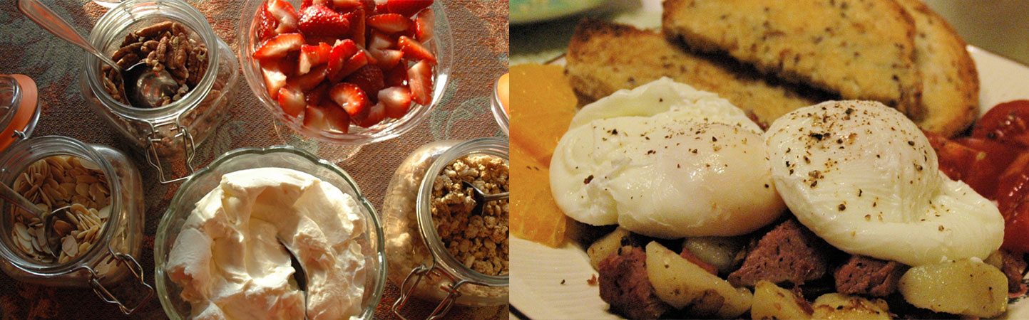 Split screen: Creamy homemade yogurt, red strawberries, granola, with a plate of poached eggs on hash, fresh fruit and seeded sourdough toast